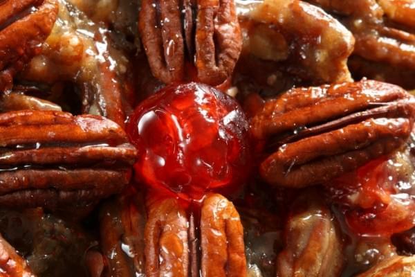 pecan fruit cake detail