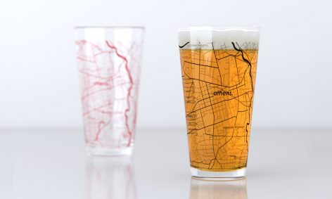 Pint cups with a map