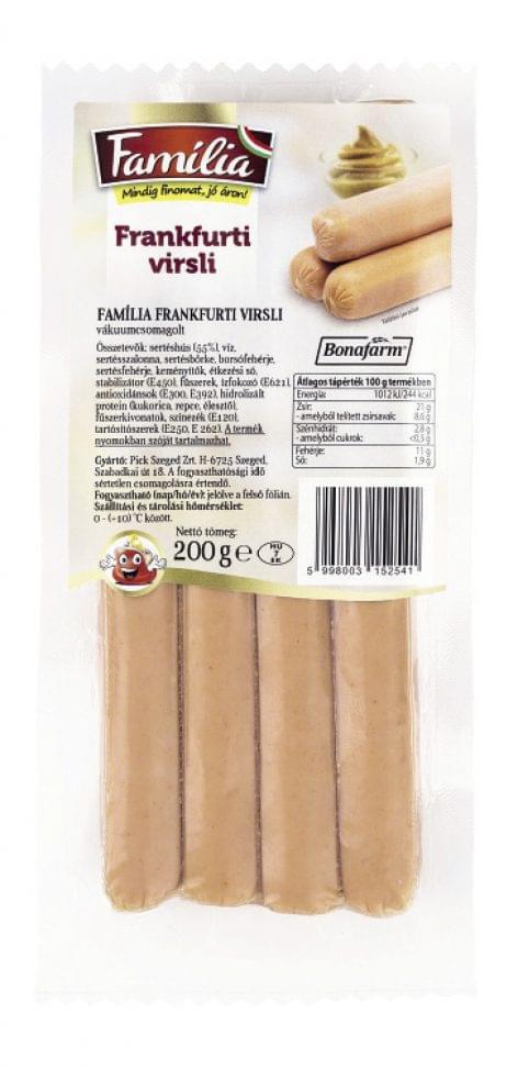 Família frankfurti virsli – vákuumcsomagolt