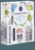 Dermaflora 0% ajándékcsomag Sensitive és Natural tusfürdő 250 ml + testápoló 250 ml