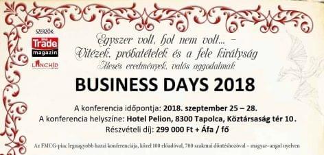 Business Days 2018. szeptember 25-28. – MÉG 3 NAPIG JELENTKEZHET