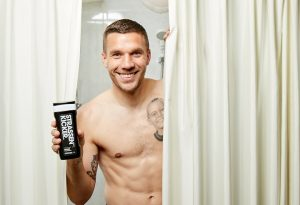The dm has developed a new exclusive brand with Lukas Podolski football player