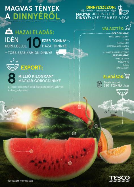 Közép-Európában 18 ezer tonna magyar dinnyét értékesít a Tesco