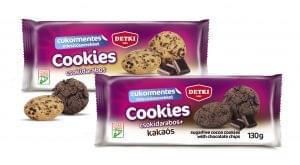 Detki Cookies cukormentes omlós keksz kétféle ízben: csokidarabos és kakaós csokidarabos