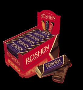 Roshen étcsokoládé-szelet rumos töltelékkel