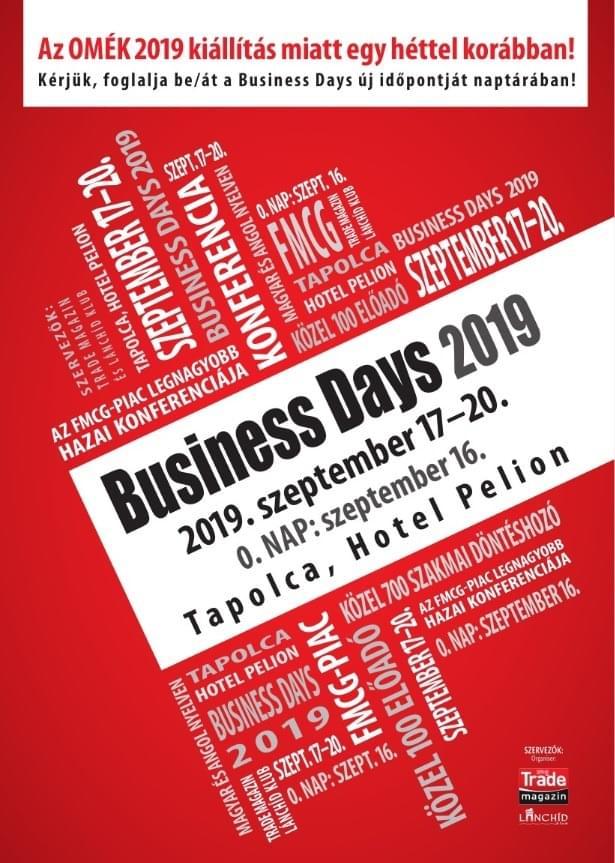 Business Days 2019. szeptember 17 – 20. <br>0. nap 2019. szeptember 16.