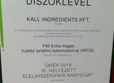Élelmiszeripari Nagydíjas a KALL Ingredients Kft. kukoricacukor terméke