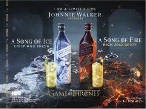 Johnnie Walker Song of Ice és Johnnie Walker Song of Fire limitált kiadású skót whiskyk