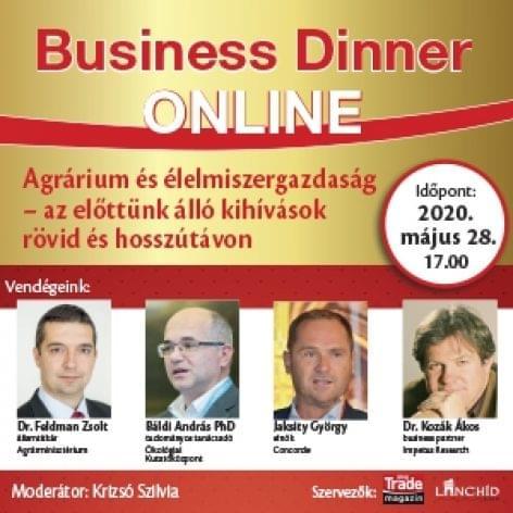 Business Dinner ONLINE <br>Agrárium és élelmiszergazdaság – az előttünk   álló kihívások rövid és hosszútávon