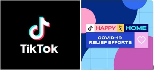 """A TikTok alkalmazás logója és a """"Boldogan otthon"""" aktivitásuk logója"""