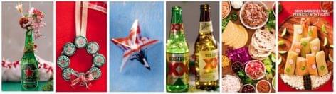 Heineken üvegek és dobozok ünnepi újragondolása