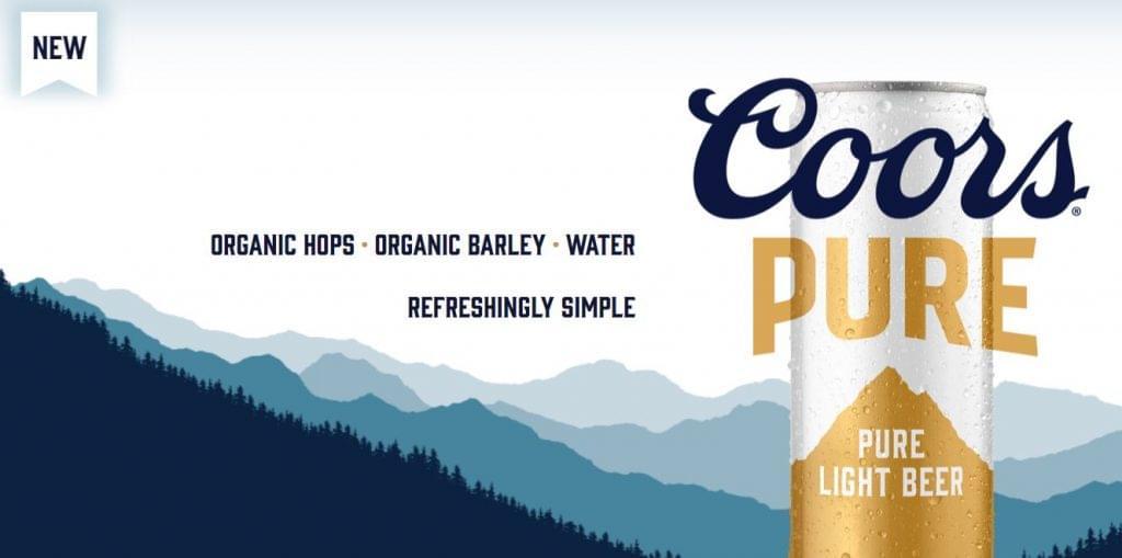 Coors Pure bió light sör bevezetés USA