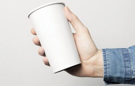 Plastic cup out, paper cup in